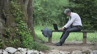 Footage of a businessman working on his laptop on a bench in a park, he receives a phone call, turns to camera and smiles...