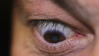 Footage of a human eye reading something