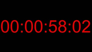 Footage of a one minute countdown with red numbers in the center on a black background, 25fps...