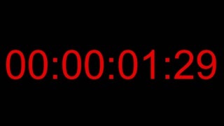 Footage of a one minute timecode with red numbers on a black background, 30fps...
