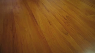 Footage of a person cleaning the parquet at a home...