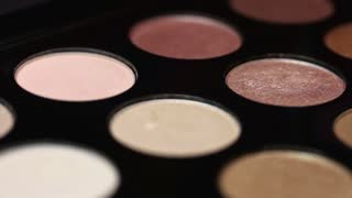 Footage of a professional make up palette, the shot is moving...
