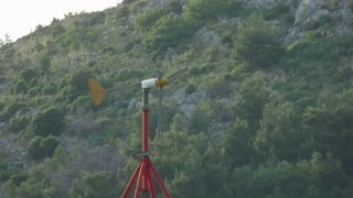 Footage of a wind gauge showing the speed of the wind...