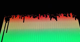 Footage of colorful audio waves on a screen