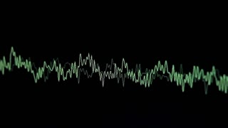 Footage of green music waves on a black background