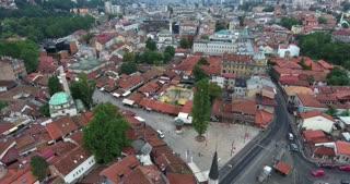 Footage of Sarajevos landmark Sebilj and old town...