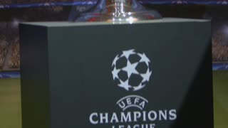 Footage of the Champions League Trophy exposed to the people of Sarajevo, the shot is moving from the bottom to the top...
