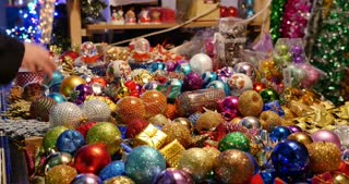 Most beautiful christmas tree decoration balls at a christmas market