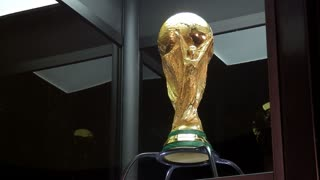 SARAJEVO, BOSNIA AND HERZEGOVINA - March, 2014: Side shot ot the world cup trophy exposed to the people of Sarajevo...