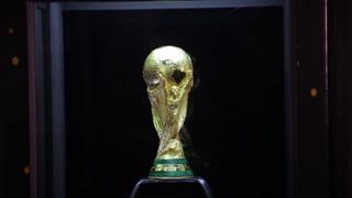 SARAJEVO, BOSNIA AND HERZEGOVINA - March, 2014: The FIFA World Cup Trophy Tour exposes the winners trophy on March 7-8, 2014 in Sarajevo, Bosnia and Herzegovina.