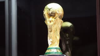SARAJEVO, BOSNIA AND HERZEGOVINA - March, 2014: The world cup trophy exposed to the people of Sarajevo...