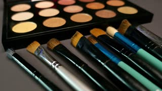 Several brushes lying in front of a professional make-up palette, the shot is moving in a half circle to the left side...