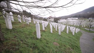 SREBRENICA, Potocari, Bosnia and Herzegovina - MARCH 15th: Memorial center in Potocari, graves of murdered men and boys during the Bosnian war, on March 15, 2016 in Srebrenica, Bosnia&Herzegovina.