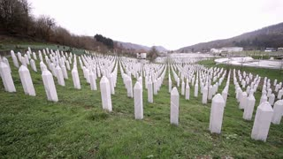 SREBRENICA, Potocari, Bosnia and Herzegovina - MARCH 15th: Memorial center in Potocari, the graves of the murdered men and boys of Srebrenica, on March 15, 2016 in Srebrenica, Bosnia&Herzegovina.