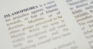 The word islamophobia being emphasized with a green marker