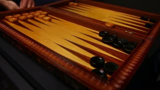 Time lapse of two players playing the famous game backgammon...
