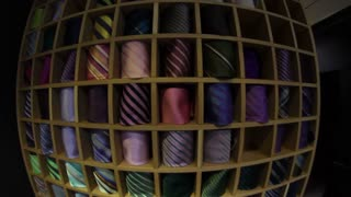 Two clips of a tie collection filmed with a fish-eye lens - moving from top to the bottom and vice versa...