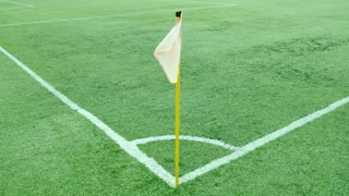Footage of a football corner flag on a windy day...