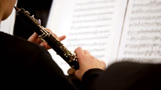 Footage of a person playing on oboe...