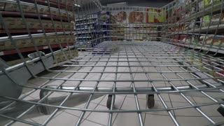 Footage of a shopping in a mall with an empty cart, the shot is taken from inside the cart...