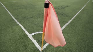 High angle footage of a football corner flag...