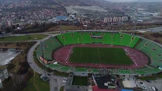Sarajevo, Bosnia and Herzegovina, March, 11th, 2017- Aerial footage of the Olympic stadium of Sarajevo...