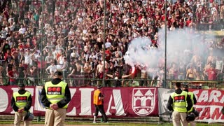 Sarajevo, Bosnia and Herzeovina, 20th May, 2017 - Footage of the fans of the soccer club FK Sarajevo supporting their team...