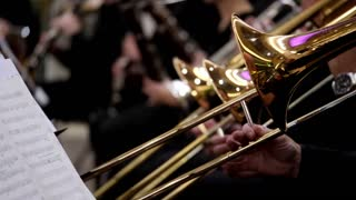 Side shot of several musicians playing on their trombones and other musicians playing on their instruments