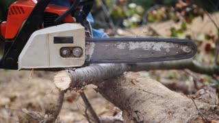 Slow motion footage of a person cutting some tree branches with his chainsaw