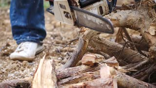 Slow motion footage of a person cutting some tree branches with his chainsaw...