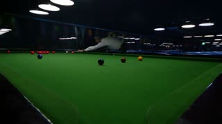 Wide angle shot of a snooker player in an entertainment center, the shot is moving from right to left and shows a point of the snooker player...