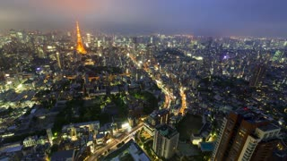 Aerial Time-lapse high above Tokyo