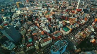 Aerial time lapse of a bustling city (4K)
