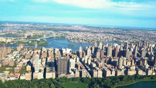 Aerial view of Manhattan, New York  over Central Park