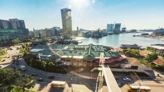 Aerial view timelapse of Baltimore Inner Harbor
