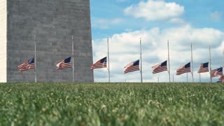 American flags blowing in the wind at the base of the Washington Monument