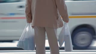 Anonymous man with shopping bags waiting to cross the street in Japan