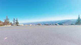 Autumn POV driving shot above the Blue Ridge Mountains