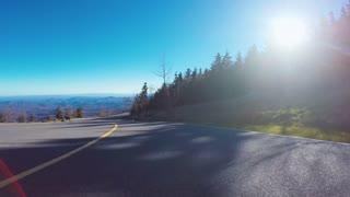 Autumn POV driving shot of the Blue Ridge Mountains
