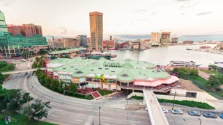 Baltimore Inner Harbor from twilight to dark