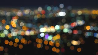 Defocused abstract shot of downtown LA at night