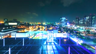 Ferris wheel POV time-lapse above Tokyo at night