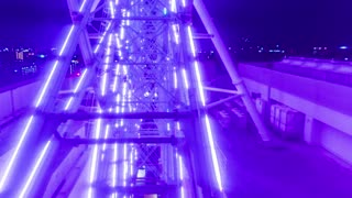 Ferris wheel POV time lapse (hyperlapse) above the busy city at night