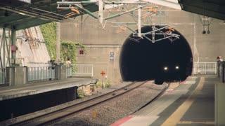 Japan's bullet-train (Shinkansen) entering the station
