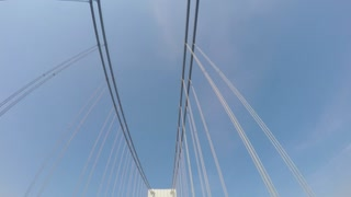 Looking up at the cables and towers of the Verrazano Bridge