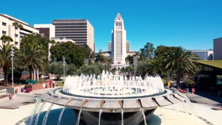 Los Angeles City Hall with a fountain in Grand Park