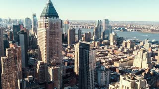 Manhattan in the morning as shadows spread across the city in timelapse