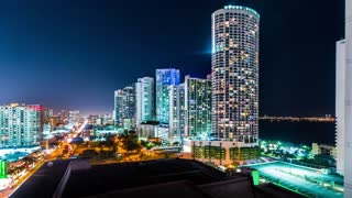 Miami Time-lapse at night (4K)