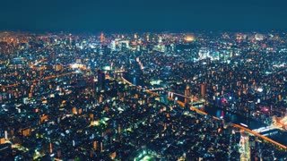 Night cityscape time-lapse high above Tokyo