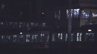 Panning shot of  the train lines at Ochanomizu Station, Tokyo